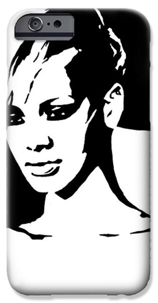 Rihanna Paintings iPhone Cases - Rihanna iPhone Case by Monofaces
