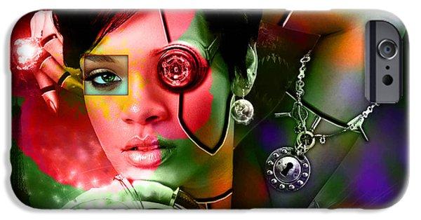 Rihanna iPhone Cases - Rihanna Over Rihanna iPhone Case by Marvin Blaine