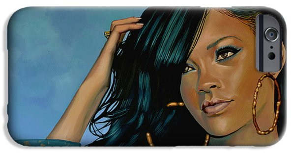 Single Paintings iPhone Cases - Rihanna iPhone Case by Paul  Meijering