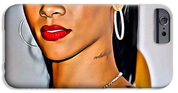 Rihanna iPhone Cases - Rihanna Portrait iPhone Case by Florian Rodarte