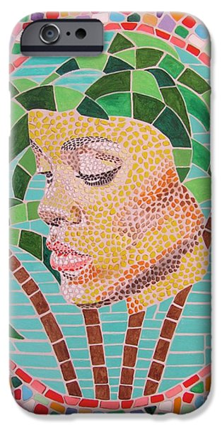 Rihanna Paintings iPhone Cases - Rihanna portrait painting in mosaic  iPhone Case by Jeepee Aero