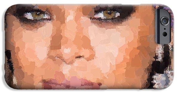 Rihanna Paintings iPhone Cases - Rihanna Portrait iPhone Case by Samuel Majcen
