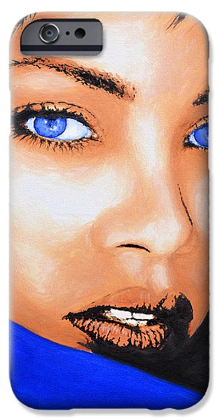 Rihanna Paintings iPhone Cases - Rihanna iPhone Case by Victor Minca