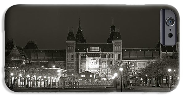 Lights At Night Pyrography iPhone Cases - Rijksmuseum Amsterdam at Night  iPhone Case by DUG Harpster