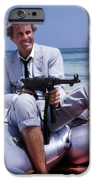 Raft iPhone Cases - Rik Van Nutter on a raft on the set of Thunderball iPhone Case by The Phillip Harrington Collection