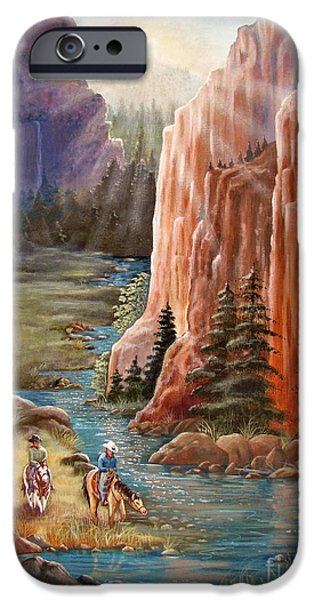 Sun Rays Paintings iPhone Cases - Rim Canyon Ride iPhone Case by Marilyn Smith