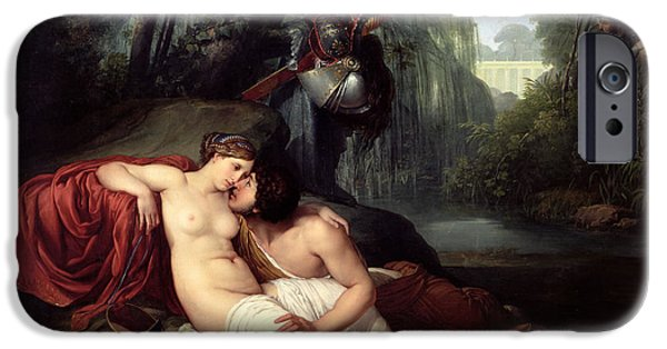 First Love iPhone Cases - Rinaldo and Amida iPhone Case by Francesco Hayez