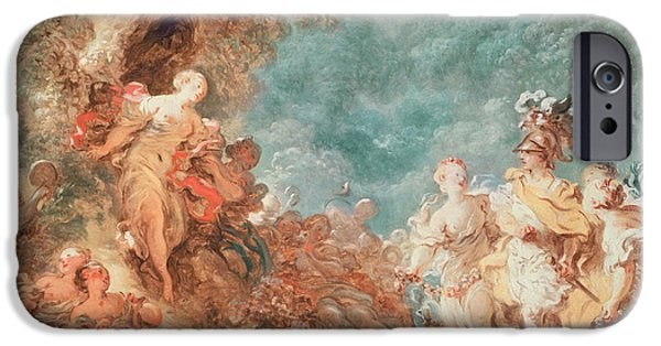 Palatial iPhone Cases - Rinaldo in the garden of the palace of Armida iPhone Case by Jean-Honore Fragonard