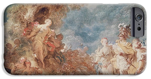 Epic iPhone Cases - Rinaldo In The Gardens Of Armida Oil On Canvas See Also 250309 iPhone Case by Jean-Honore Fragonard