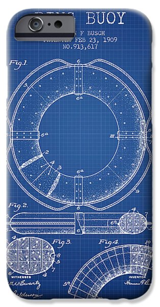 Savings iPhone Cases - Ring Buoy Patent from 1909 - Blueprint iPhone Case by Aged Pixel