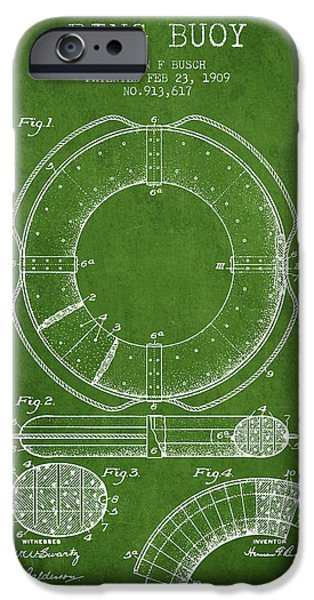 Savings iPhone Cases - Ring Buoy Patent from 1909 - Green iPhone Case by Aged Pixel