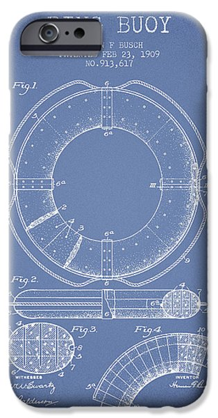 Savings iPhone Cases - Ring Buoy Patent from 1909 - Light Blue iPhone Case by Aged Pixel