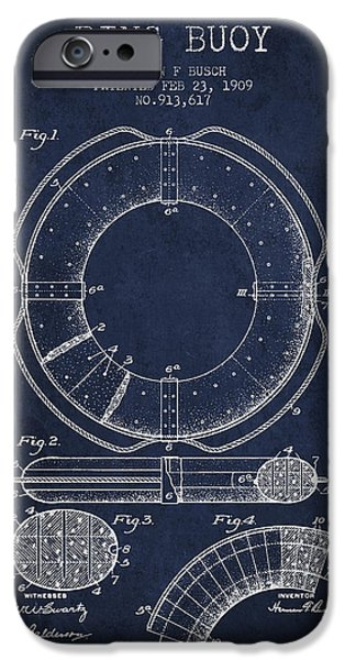 Savings iPhone Cases - Ring Buoy Patent from 1909 - Navy Blue iPhone Case by Aged Pixel