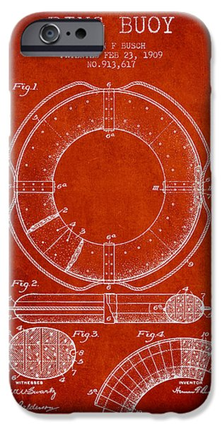 Savings iPhone Cases - Ring Buoy Patent from 1909 - Red iPhone Case by Aged Pixel