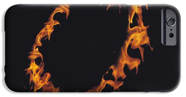 Abstract Digital Photographs iPhone Cases - Ring Of Flames iPhone Case by Panoramic Images