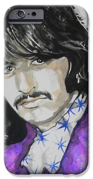 Beatles iPhone Cases - Ringo Starr. 01 iPhone Case by Chrisann Ellis