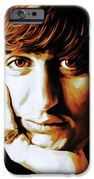 Starr iPhone Cases - Ringo Starr Artwork iPhone Case by Sheraz A