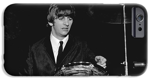 Beatles iPhone Cases - Ringo Starr, Beatles Concert, 1964 iPhone Case by Larry Mulvehill