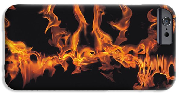 Abstract Digital Photographs iPhone Cases - Rings Of Flames iPhone Case by Panoramic Images