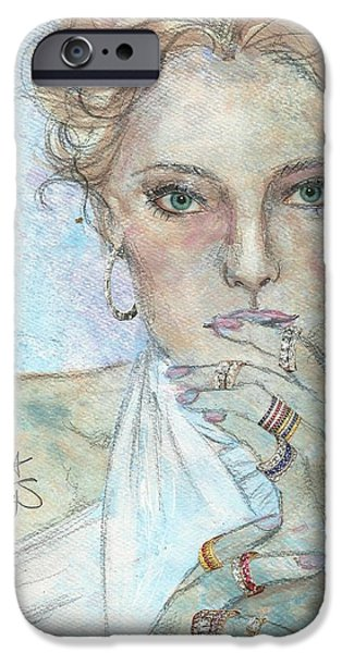 Mixed Media Drawings iPhone Cases - Rings iPhone Case by P J Lewis