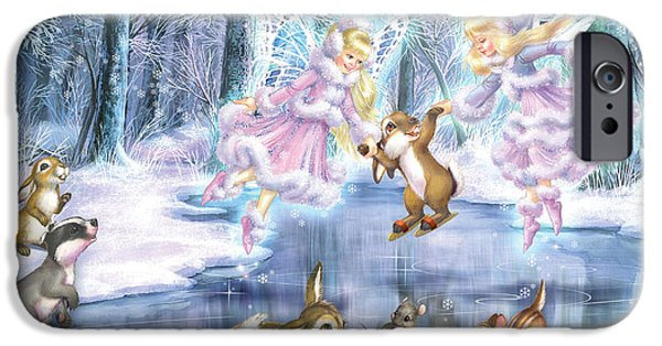 Mice Digital Art iPhone Cases - Rink in the Forest iPhone Case by Zorina Baldescu
