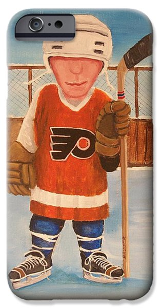 Hockey Paintings iPhone Cases - Rinkrattz - Bruiser Flyers iPhone Case by Ron  Genest
