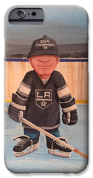 Stanley Cup Paintings iPhone Cases - RinkRattz - LA KINGS iPhone Case by Ron  Genest