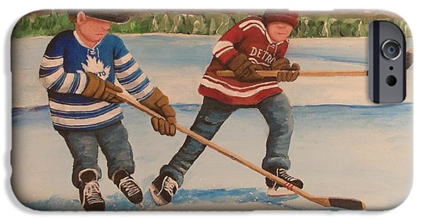 Stanley Cup Paintings iPhone Cases - Rinkrattz - Winter Classic 2014 iPhone Case by Ron  Genest