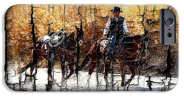 Las Cruces Digital Art iPhone Cases - Rio Cowboy With Horses  iPhone Case by Barbara Chichester