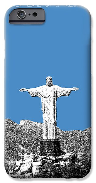 Pen And Ink Digital Art iPhone Cases - Rio de Janeiro Skyline Christ the Redeemer - Slate iPhone Case by DB Artist