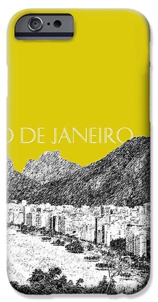 Pen And Ink iPhone Cases - Rio de Janeiro Skyline Copacabana Beach - Mustard  iPhone Case by DB Artist