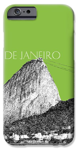 Pen And Ink iPhone Cases - Rio de Janeiro Skyline Sugarloaf Mountain - Olive iPhone Case by DB Artist