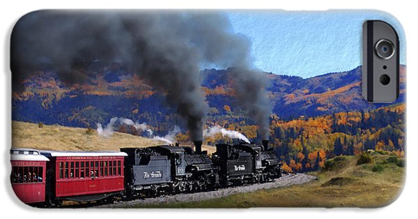 Railway Locomotive iPhone Cases - Rio Grande 488 and 489 iPhone Case by Kurt Van Wagner