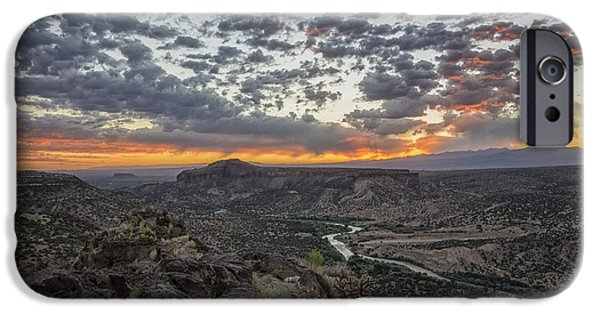 River iPhone Cases - Rio Grande River Sunrise 2 - White Rock New Mexico iPhone Case by Brian Harig