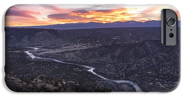 Rock Formation iPhone Cases - Rio Grande River Sunrise - White Rock New Mexico iPhone Case by Brian Harig