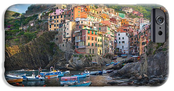 Boat iPhone Cases - Riomaggiore Boats iPhone Case by Inge Johnsson