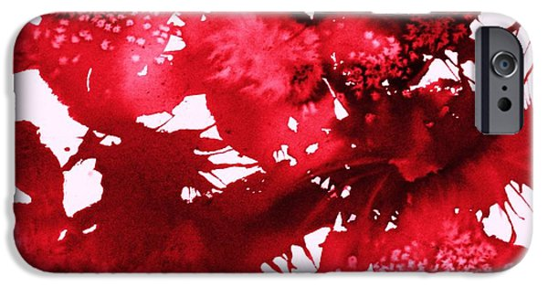 Splashy Digital Art iPhone Cases - Riot of Red Abstract iPhone Case by Ellen Levinson