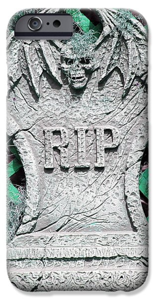 Headstones iPhone Cases - RIP Halloween Tombstone iPhone Case by Aimee L Maher Photography and Art