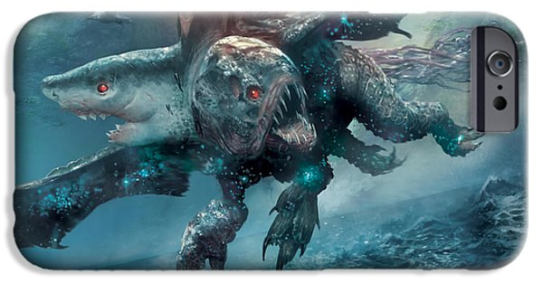 Shark Digital iPhone Cases - Riptide Chimera iPhone Case by Ryan Barger