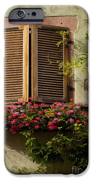 Riquewihr Window iPhone Case by Brian Jannsen