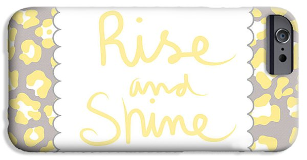 Morning iPhone Cases - Rise and Shine- yellow and grey iPhone Case by Linda Woods