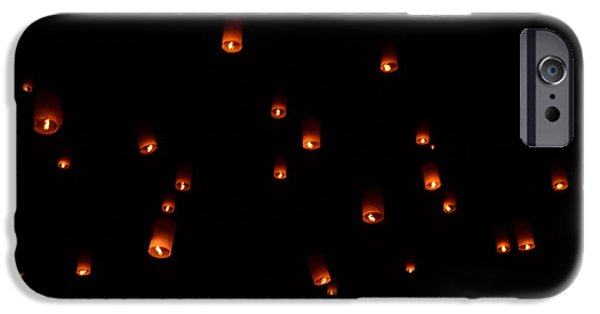 Dry Lake iPhone Cases - RISE Festival Lanterns 2014 horizontal Sky Only Number One iPhone Case by Heather Kirk