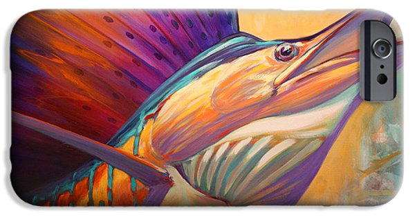 Sailfish Paintings iPhone Cases - Rising Son - Contemporary Sailfish Painting iPhone Case by Mike Savlen