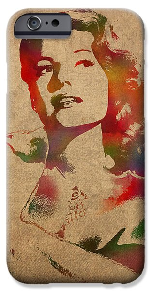 Rita iPhone Cases - Rita Hayworth Hollywood Golden Era Actress Watercolor Portrait on Won Canvas iPhone Case by Design Turnpike