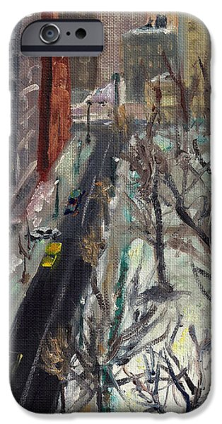 Phillies Paintings iPhone Cases - Rittenhouse Square in the Snow iPhone Case by Joseph Levine