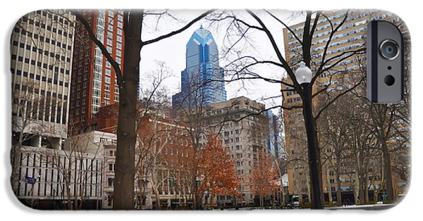 Wintertime Digital Art iPhone Cases - Rittenhouse Square in Wintertime iPhone Case by Bill Cannon