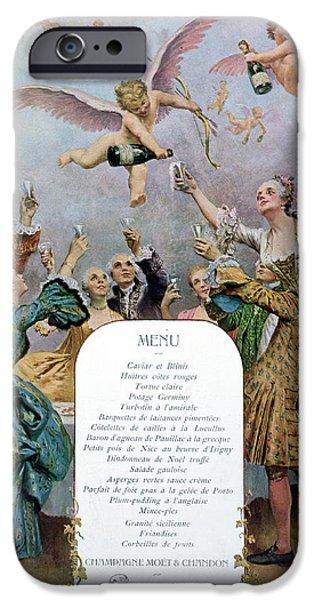 Bubbly iPhone Cases - Ritz Restaurant Menu iPhone Case by Maurice Leloir