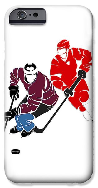 Detroit Red Wings iPhone Cases - Rivalries Avalanche And Red Wings iPhone Case by Joe Hamilton