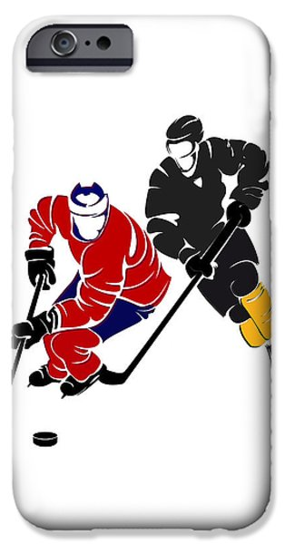 Montreal Canadiens iPhone Cases - Rivalries Canadiens And Bruins iPhone Case by Joe Hamilton