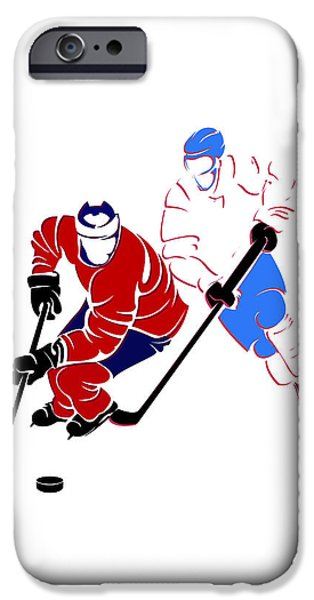Montreal Canadiens iPhone Cases - Rivalries Canadiens And Nordiques iPhone Case by Joe Hamilton